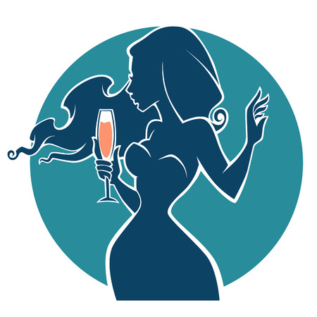 drink with me,vector commercial with images of drink and girl silhouette
