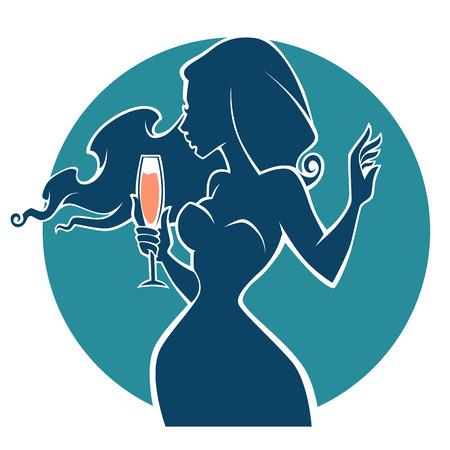 drinken met mij, vector commercial met afbeeldingen van drank en meisje silhouet