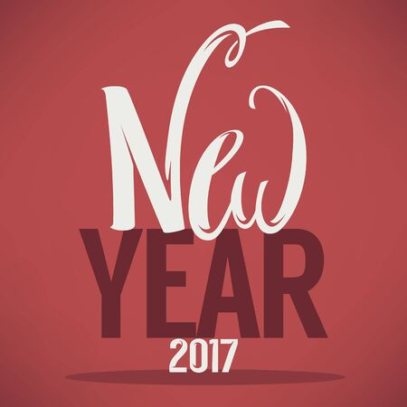 happy new year text: Happy New Year 2017 lettering composition, greeting card template