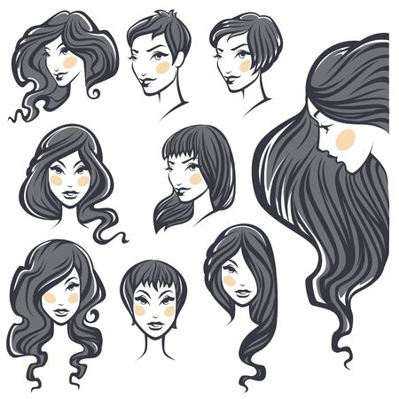 hairstyling: vector collection of beauty woman portraits with hairstyle variations Illustration