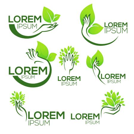 벡터 생태 기호 및 표지판, 인간의 손 및 녹색 성장 식물의 컬렉션