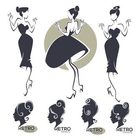 retro fashion and beauty logo and emblem collection Illustration
