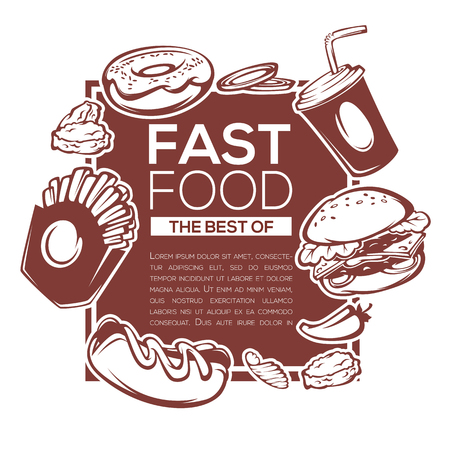 traditional best of american fastfood ingredients for your menu, banner or flyer template Illustration