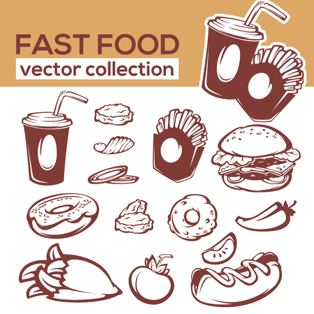 food ingredient: ector collection of fast food objects and ingredient for your american menu