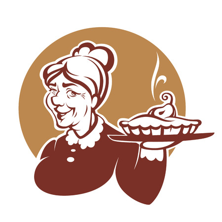 vector portrait of lovely grandmother and home made pie
