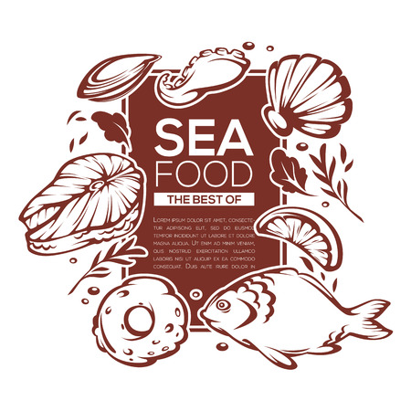 shellfish: sea food background, vector template design for your menu