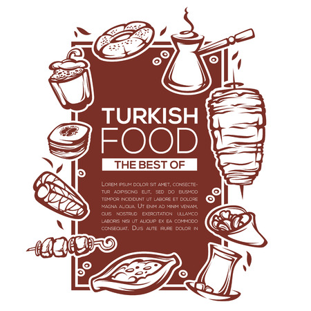 turkish bread: turkish food, linear template design for your menu