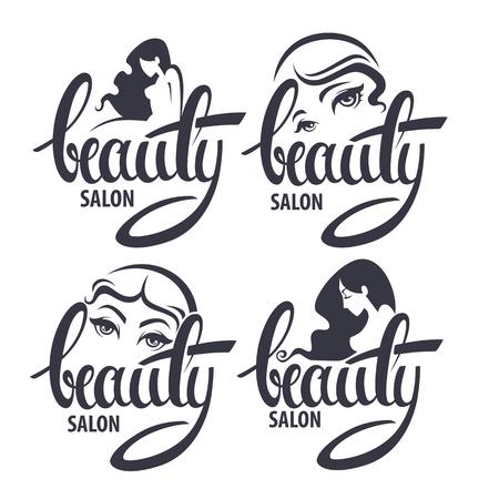 schönheit: Schönheit und Frisur Salon-Logo und Emblem Sammlung mit Beauty-Schriftzug