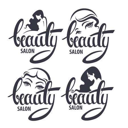 Schoonheid en kapsel salon logo en emblem collectie met Beauty lettering