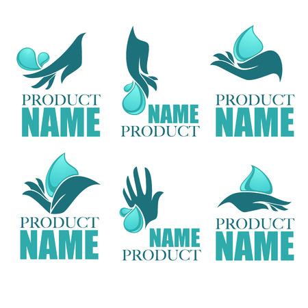 manos limpias: Colección de vectores de manos limpias de las mujeres y el agua dulce, colección de logotipos