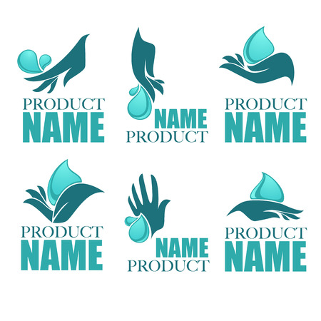 manos limpias: vector collection of clean women hands and fresh water, logo collection