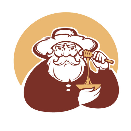 old man portrait: grandpa honey, vector portrait of old man for your logo
