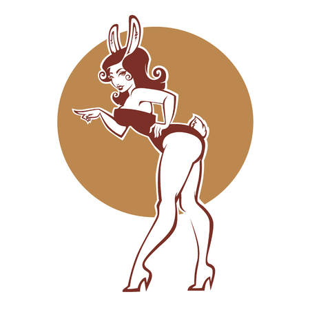 Pinup rabbit, vector illustration in retro style, girl in bunny costume