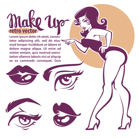 glamour makeup: retro beauty collection, pinup girl, lips, eyes and lettering Illustration