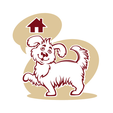 cartoon illustration for pet shelter, with image of funny dog