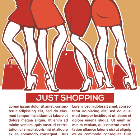 legs and bags, vector image of fashionable shopping Illustration