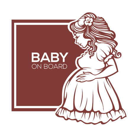 Happy And Beautyful Pregnant Woman, Vector Banner Design Template ...