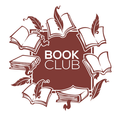 book shop: book club, library and shop, vector template design for your label, sticker, card, flyer