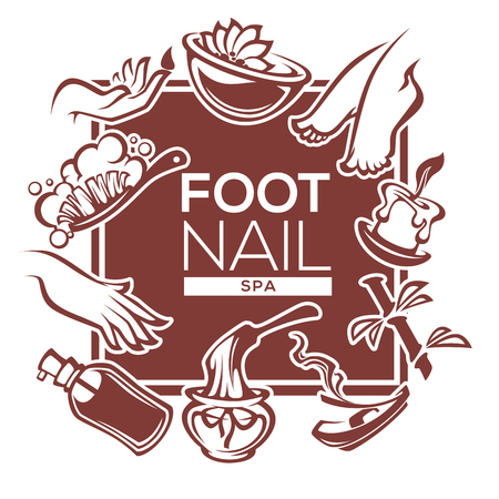 nail, foot, hand spa and care, vector template design