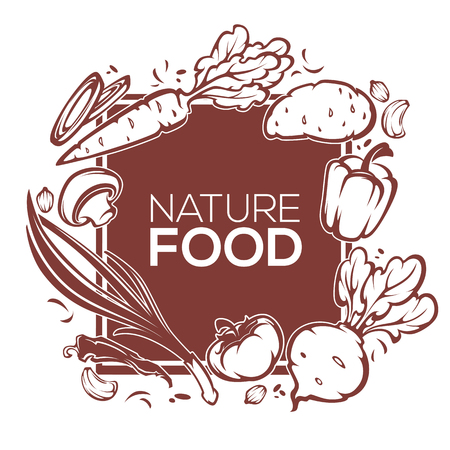 root vegetables: nature, organic food  banner template design with images of common vegetables, carrot, root, tomato, pepper, onion, mushroom,
