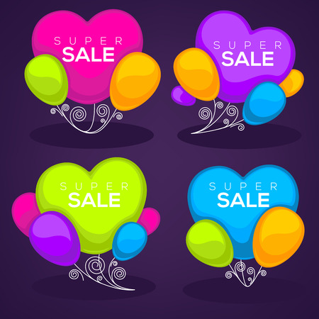 flag: glossy and shine sale template design with heart shape balloon images Illustration