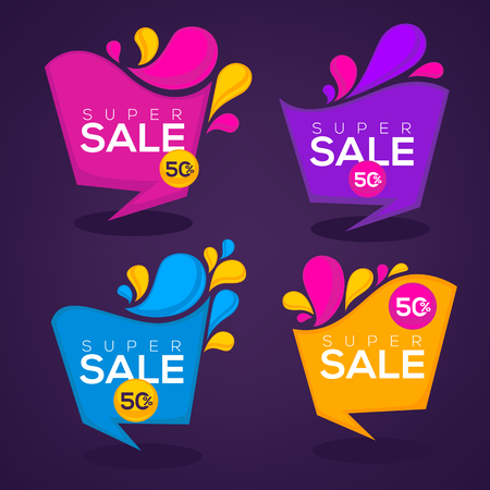 sale sticker: super  sale, vector collection of bright discount bubble tags, banners and stickers