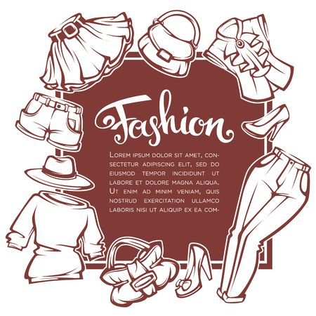 fashion collection: fashion collection, style guide, vector woman clothes and accessories template design