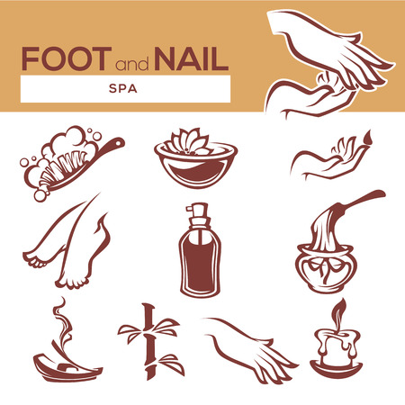 prettiness: nail, foot, hand spa and care, vector objects and icons collection