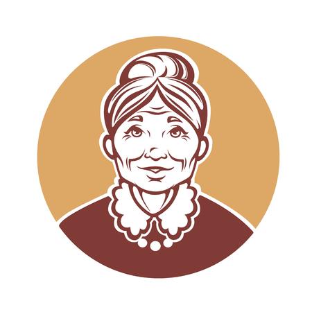 vector portret van mooie grootmoeder