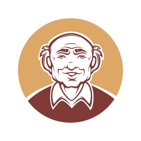 mature men: vector portrait of old man