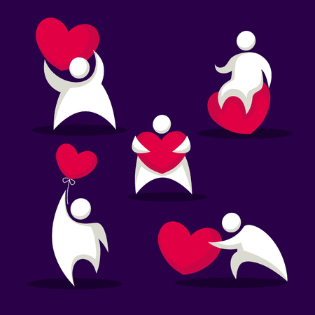 sit stay: funny fat people amd heart, love emblems for you Valentine logo
