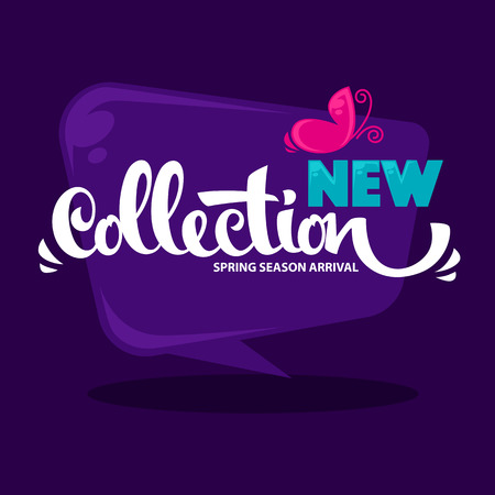 arrivals: New arrivals,  spring collection, vector bright bannertemplate, with butterfly image and lettering composition