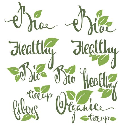 eco slogan: organic, bio, healthy and fresh, hand drawn lettering composition with green leaves for your logo or emblem