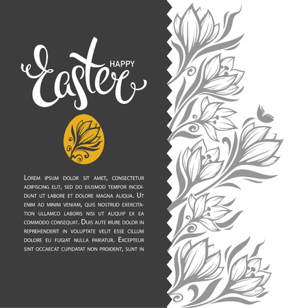 happy Easter, vector greeting card design template with lettering composition