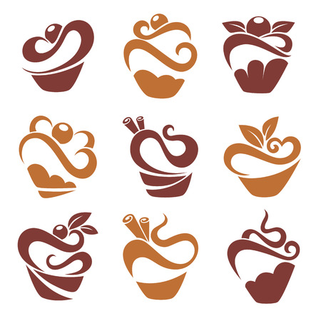 あなたのロゴのシンプルなケーキやマフィンの画像  イラスト・ベクター素材