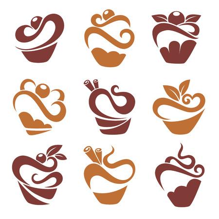 eenvoudige cakes en muffinsafbeeldingen voor uw embleem Stock Illustratie