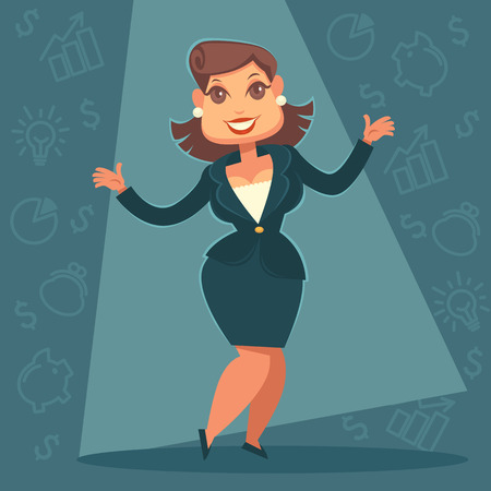 mentor: successful finance coach and mentor, vector cartoon business lady