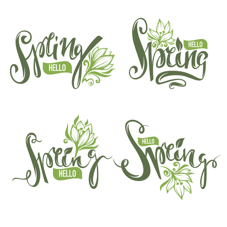 hey: hello Spring, vector lettering collection