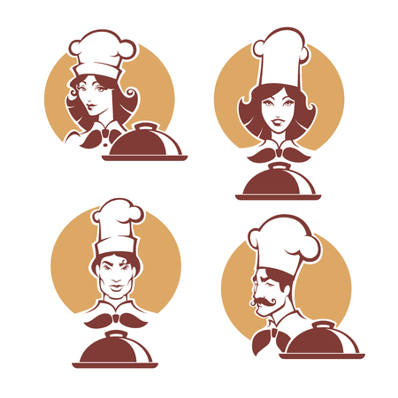 chef and woman chef, vector portrets of professional, in retro style for your logo Illustration