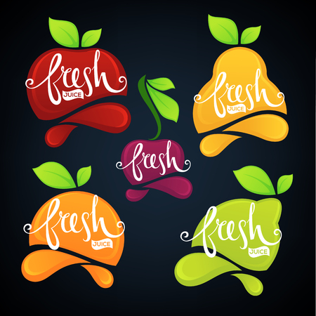 fresf fruit and berry juice stickers and emblems Illustration