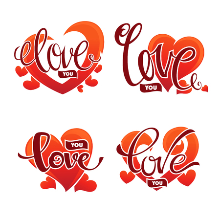 unusual valentine: Love you emblem, vector lettering element for Saint Valentine congratulation logo, cards, banners and flyers. Illustration