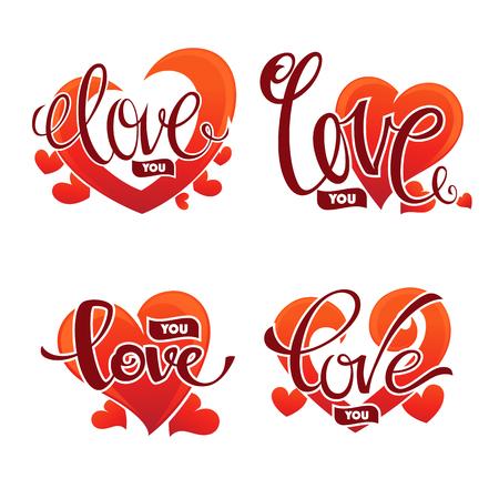 saint: Love you emblem, vector lettering element for Saint Valentine congratulation logo, cards, banners and flyers. Illustration