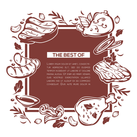 meat food: meat food background, vector template design for your menu