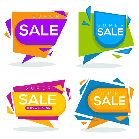 page layout: super sale, vector collection of bright discount bubble tags, banners and stickers