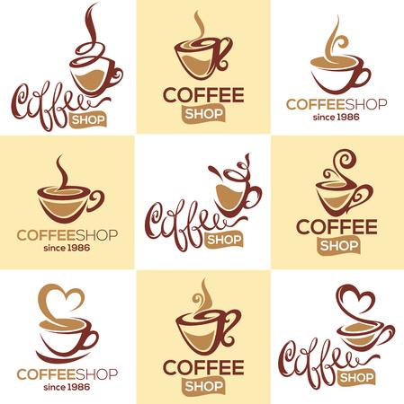 café-restaurant, collection de vecteurs de modèle de logo avec image de coupe décorative