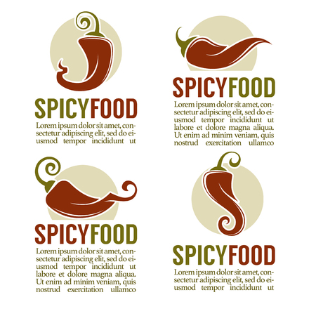 Hot chili pepper logo, icons, stickers and emblems