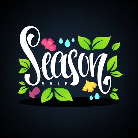 rain drop: Season Sale, lettering composition with images of, green leaves, spring flowers and rain drop template design