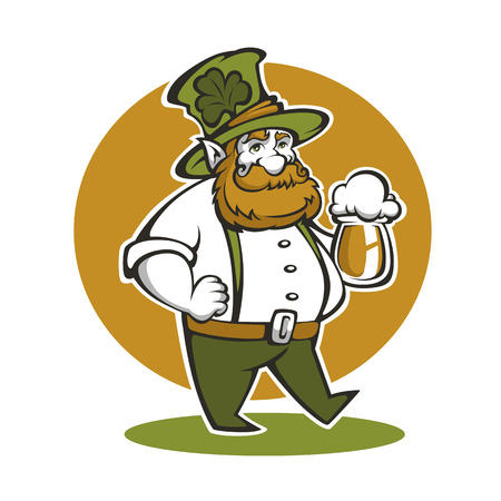 cute leprechaun illustration with craft draft beer for your Saint Patricks day