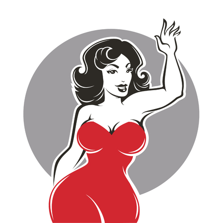 Beauty and happy plus size pinup lady