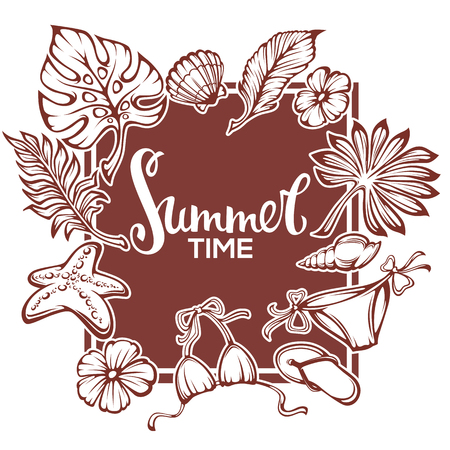 summer time, tropical background with palm leaves, flowers, plants swimsuit and lettering composition